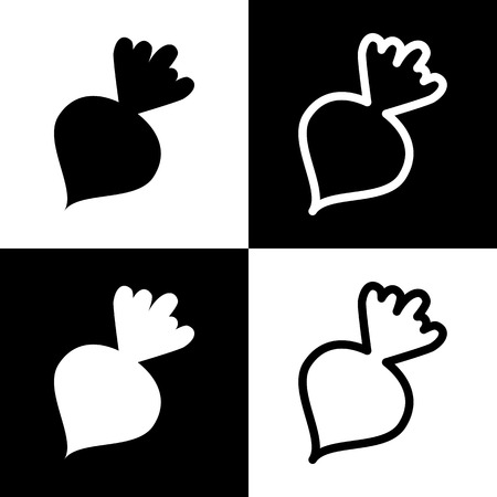 Beet simple sign. Vector. Black and white icons and line icon on chess board.