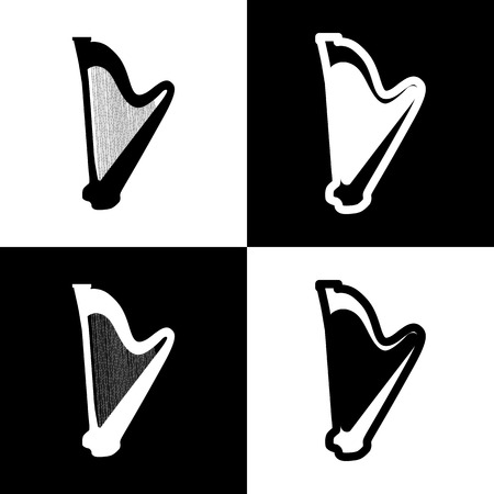 Musical instrument harp sign. Vector. Black and white icons and line icon on chess board.