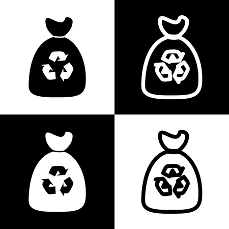 chess board: Trash bag icon. Vector. Black and white icons and line icon on chess board.