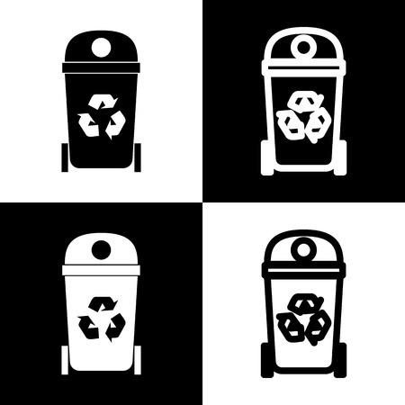trashing: Trashcan sign illustration. Vector. Black and white icons and line icon on chess board.