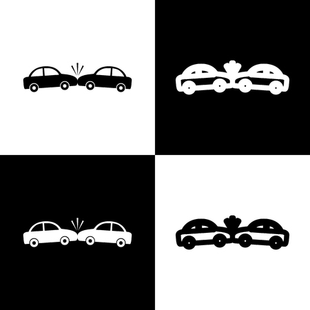 crashed: Crashed Cars sign. Vector. Black and white icons and line icon on chess board. Illustration