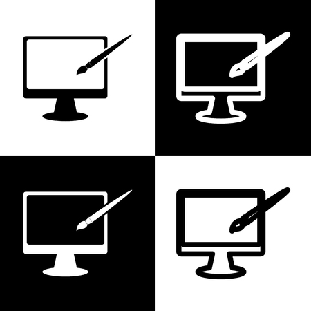 hdtv: Monitor with brush sign. Vector. Black and white icons and line icon on chess board.