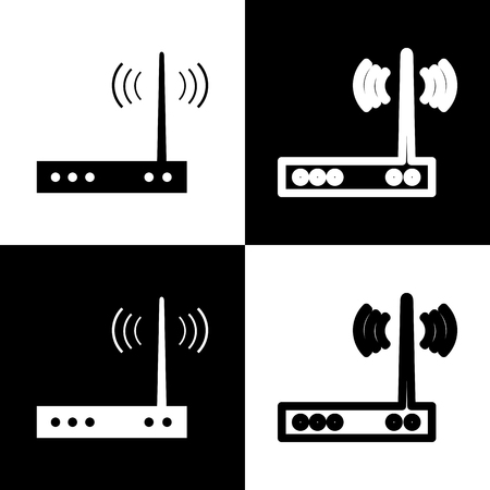chess board: Wifi modem sign. Vector. Black and white icons and line icon on chess board. Illustration