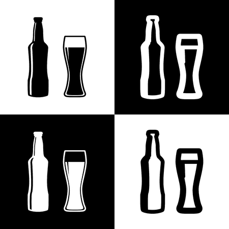 chess board: Beer bottle sign. Vector. Black and white icons and line icon on chess board. Illustration