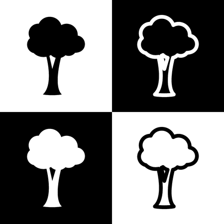 chess board: Tree sign illustration. Vector. Black and white icons and line icon on chess board.