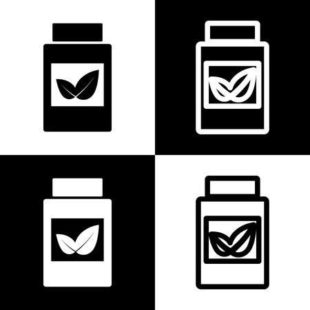 doctor tablet: Supplements container sign. Vector. Black and white icons and line icon on chess board. Illustration