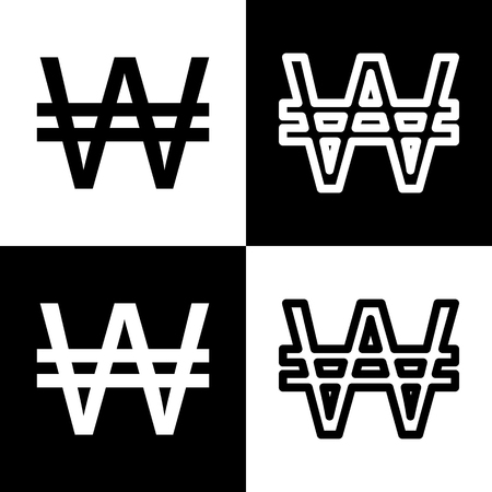 Won sign. Vector. Black and white icons and line icon on chess board. Illustration