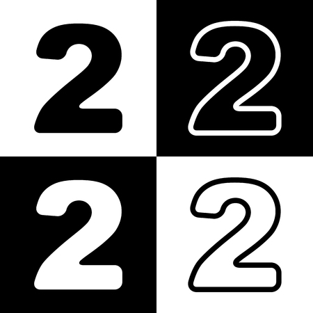 chess board: Number 2 sign design template elements. Vector. Black and white icons and line icon on chess board.