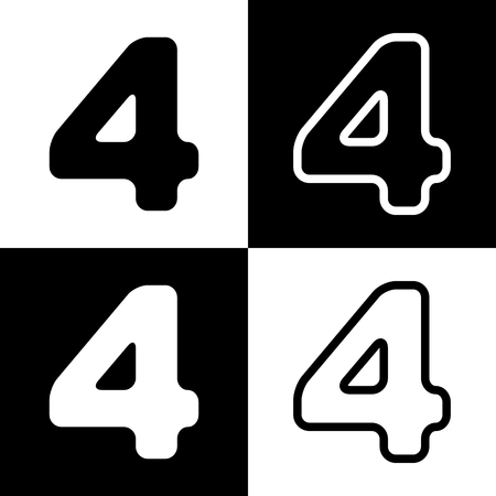 Number 4 sign design template element. Vector. Black and white icons and line icon on chess board.