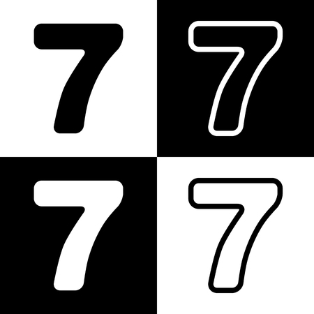 Number 1 Sign Design Template Element. Vector. Black And White ...