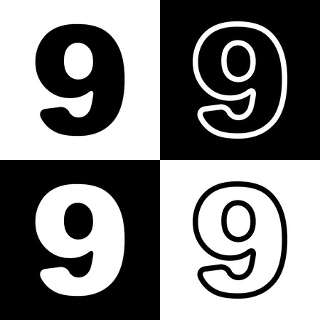 chess board: Number 9 sign design template element. Vector. Black and white icons and line icon on chess board.