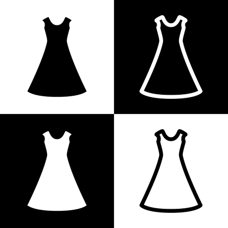 beautiful long dress sign. Vector. Black and white icons and line icon on chess board.