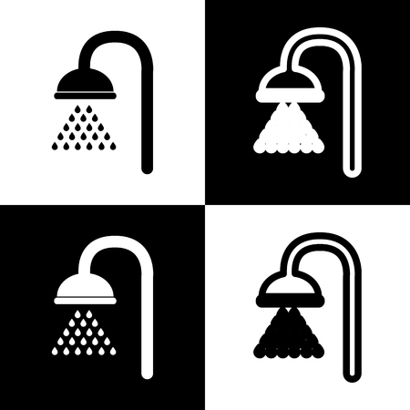 douche: Shower sign. Vector. Black and white icons and line icon on chess board.