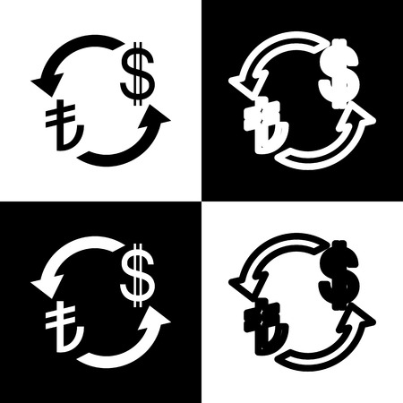 lira: Currency exchange sign. Turkey Lira and US Dollar. Vector. Black and white icons and line icon on chess board.