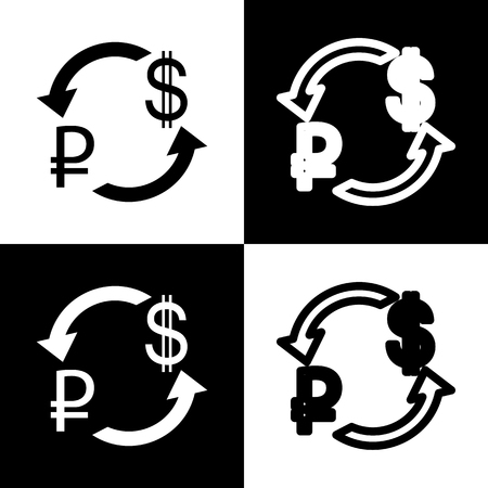 chess board: Currency exchange sign. Ruble and US Dollar. Vector. Black and white icons and line icon on chess board. Illustration
