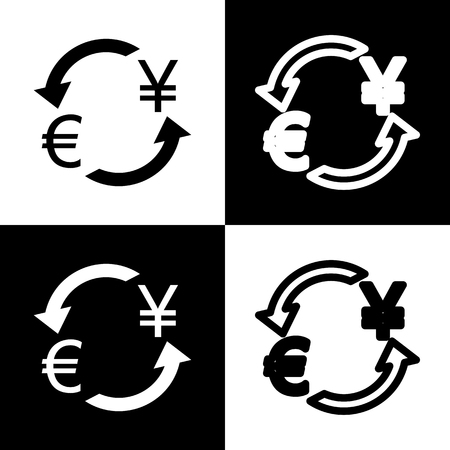 chess board: Currency exchange sign. Euro and Japan Yen. Vector. Black and white icons and line icon on chess board.