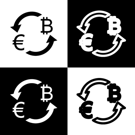 chess board: Currency exchange sign. Euro and Bitcoin. Vector. Black and white icons and line icon on chess board.