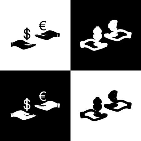 Valutawissel van hand tot hand. Dollar en Euro. Vector. Zwart-wit pictogrammen en lijn pictogram op schaakbord. Stock Illustratie