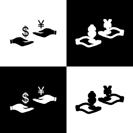 lira: Currency exchange from hand to hand. Dollar and Yen. Vector. Black and white icons and line icon on chess board.
