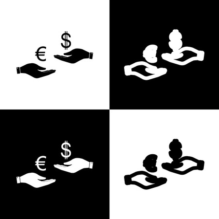 chess board: Currency exchange from hand to hand. Euro and Dollar. Vector. Black and white icons and line icon on chess board.