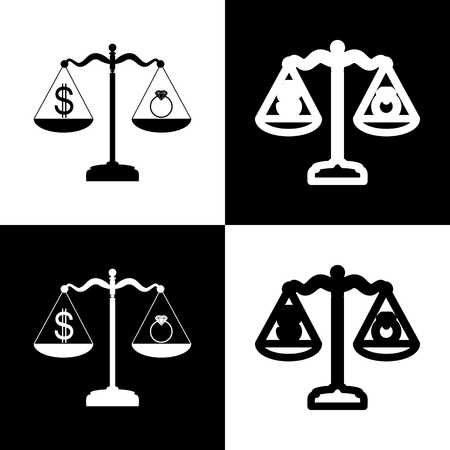 beautifully: Ring jewelery and dollar symbol on scales. Vector. Black and white icons and line icon on chess board.