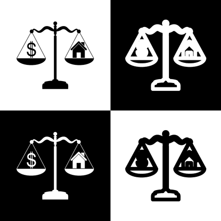 chess board: House and dollar symbol on scales. Vector. Black and white icons and line icon on chess board.