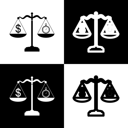 chess board: Stopwatch and dollar symbol on scales. Vector. Black and white icons and line icon on chess board.