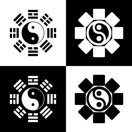 陰と陽は、八卦の配置で署名します。ベクトル。黒と白のアイコンとチェス盤の線アイコン。
