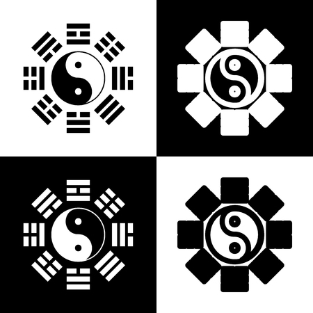 taiji: Yin and yang sign with bagua arrangement. Vector. Black and white icons and line icon on chess board.