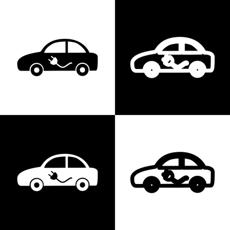 chess board: Electric car sign. Vector. Black and white icons and line icon on chess board.