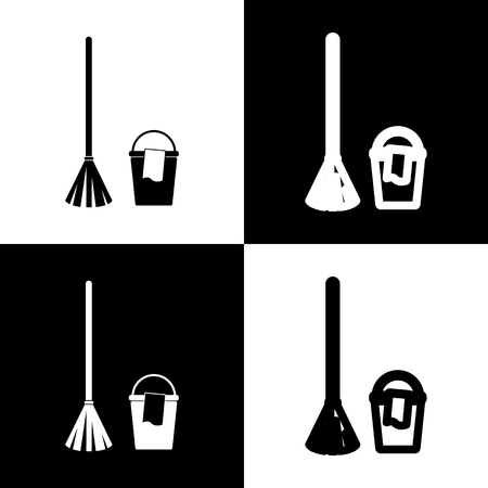 Broom and bucket sign. Vector. Black and white icons and line icon on chess board.