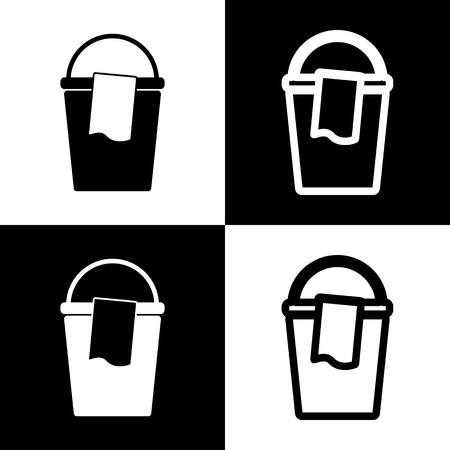 chess board: Bucket and a rag sign. Vector. Black and white icons and line icon on chess board. Illustration