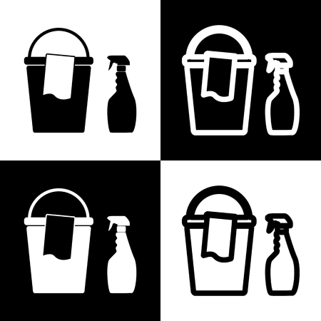 Bucket and a rag with Household chemical bottles. Vector. Black and white icons and line icon on chess board.