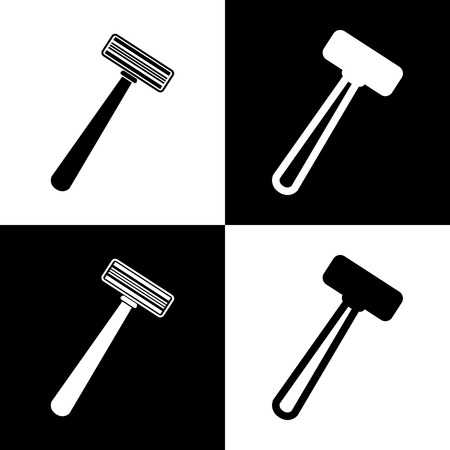 Safety razor sign. Vector. Black and white icons and line icon on chess board. Illustration