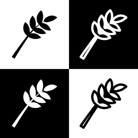 Tree branch sign. Vector. Black and white icons and line icon on chess board.