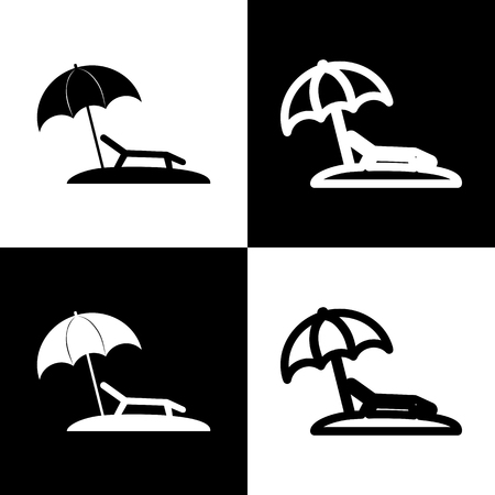 chess board: Tropical resort beach. Sunbed Chair sign. Vector. Black and white icons and line icon on chess board.
