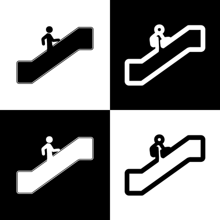 Man on moving staircase going up. Vector. Black and white icons and line icon on chess board.