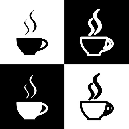 long bean: Cup sign with two small streams of smoke. Vector. Black and white icons and line icon on chess board.