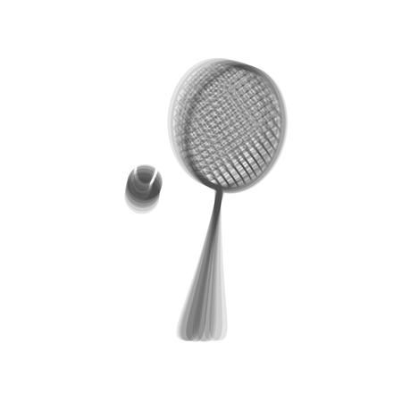 Tennis racquet with ball sign. Vector. Gray icon shaked at white background.