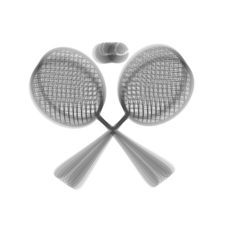 Tennis racket sign. Vector. Gray icon shaked at white background.
