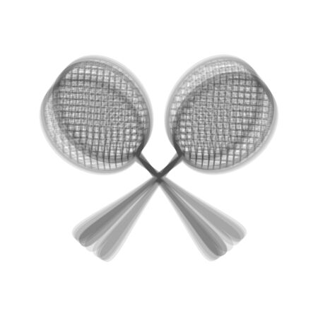 Tennis racquets sign. Vector. Gray icon shaked at white background.