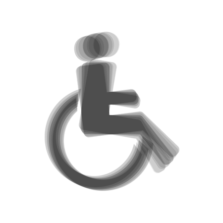 Disabled sign illustration. Vector. Gray icon shaked at white background.