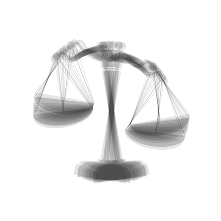 Scales of Justice sign. Vector. Gray icon shaked at white background. Illustration