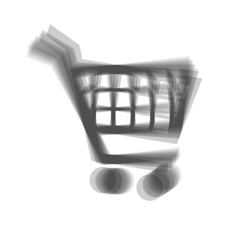 emarketing: Shopping cart sign. Vector. Gray icon shaked at white background.
