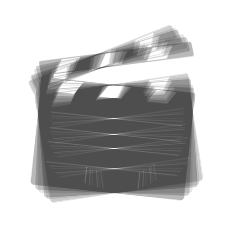 flick: Film clap board cinema sign. Vector. Gray icon shaked at white background.