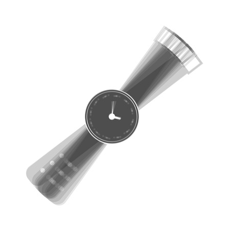 Watch sign illustration. Vector. Gray icon shaked at white background.