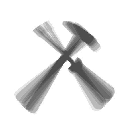 Tools sign illustration. Vector. Gray icon shaked at white background. Çizim