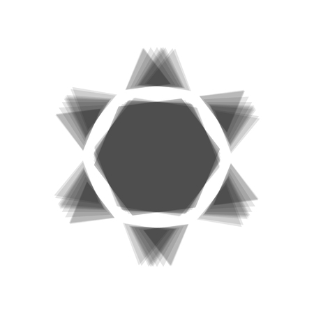 khanukah: Shield Magen David Star Inverse. Symbol of Israel inverted. Vector. Gray icon shaked at white background.