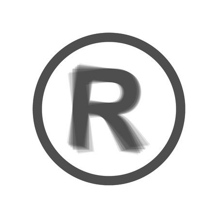 商標記号を登録しました。ベクトル。グレーのアイコンは白い背景で登場。