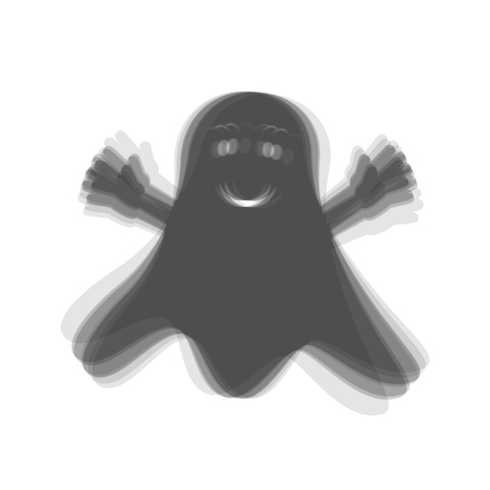 Ghost isolated sign. Vector. Gray icon shaked at white background. Illusztráció